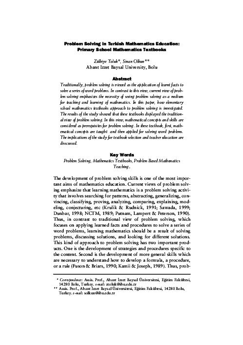 PDF) Problem Solving in Turkish Mathematics Education