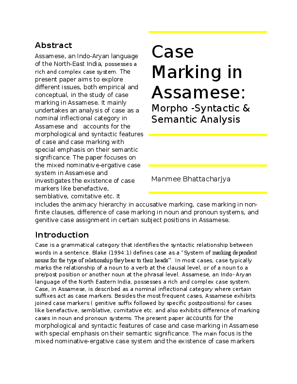 Case Marking In Assamese Morpho Syntactic And Semantic Analysis
