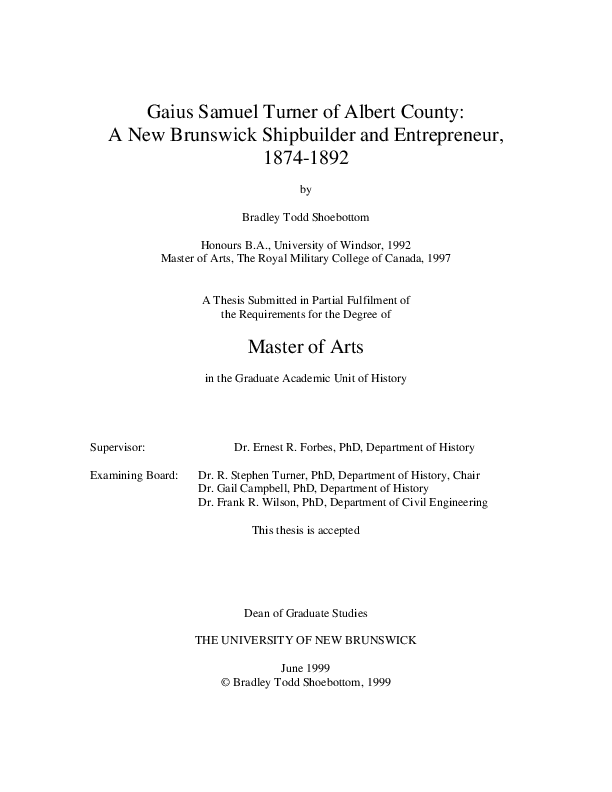 PDF) Gaius Samuel Turner of Albert County: A New Brunswick