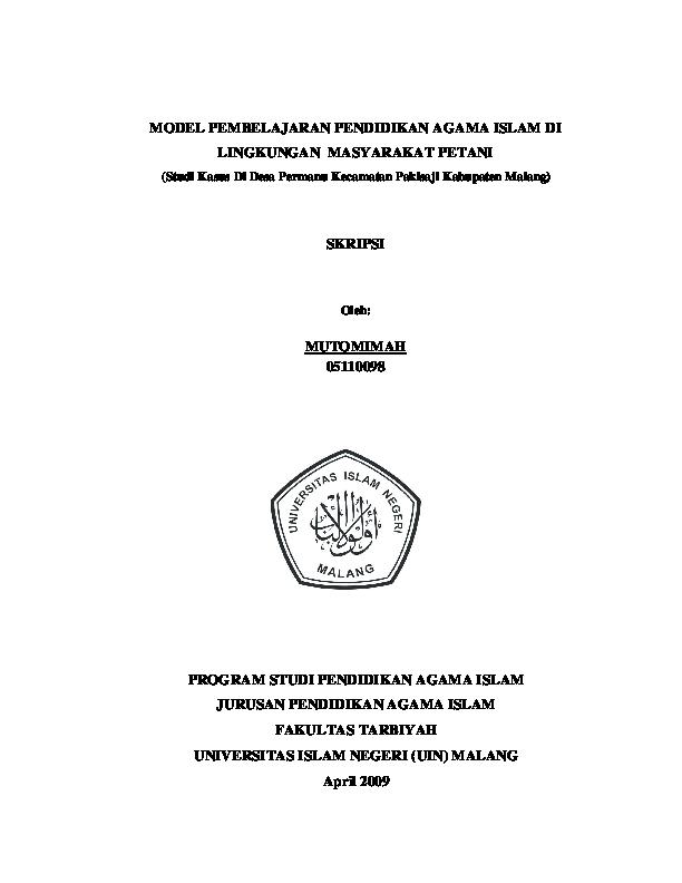 Judul Skripsi Pendidikan Agama Islam 2019 Ide Judul Skripsi Universitas