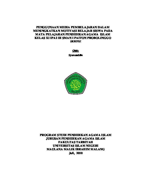 Penggunaan Media Pembelajaran Dalam Meningkatkan Motivasi Belajar Siswa Pada Mata Pelajaran Pendidikan Agama Islam Dalbo Kenongo Academia Edu